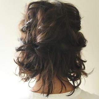 ボブ ハーフアップ 波ウェーブ ガーリー ヘアスタイルや髪型の写真・画像
