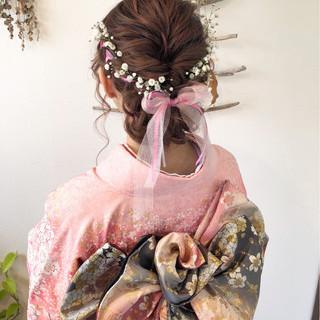 ヘアアレンジ 成人式 着物 セミロング ヘアスタイルや髪型の写真・画像