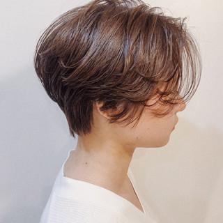 ベージュ ショート マッシュショート ハンサムショート ヘアスタイルや髪型の写真・画像