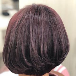 ボブ パープル フェミニン 暗髪バイオレット ヘアスタイルや髪型の写真・画像