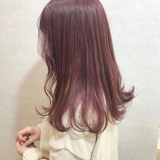 ガーリー ボルドー グレージュ ロング ヘアスタイルや髪型の写真・画像