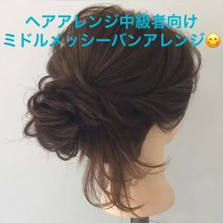 ナチュラル セミロング ヘアアレンジ 簡単ヘアアレンジ ヘアスタイルや髪型の写真・画像