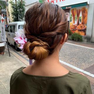 お団子アレンジ ロング 結婚式 ヘアアレンジ ヘアスタイルや髪型の写真・画像