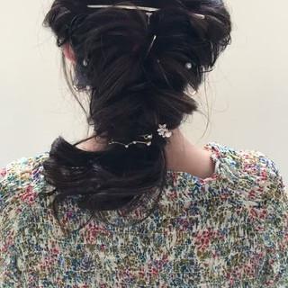 結婚式 パーティ 女子会 編み込み ヘアスタイルや髪型の写真・画像