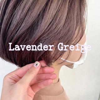 ラベンダーアッシュ ナチュラル ラベンダーピンク ショート ヘアスタイルや髪型の写真・画像