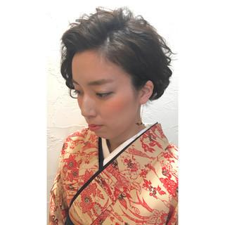袴 ヘアアレンジ ショート 編み込み ヘアスタイルや髪型の写真・画像