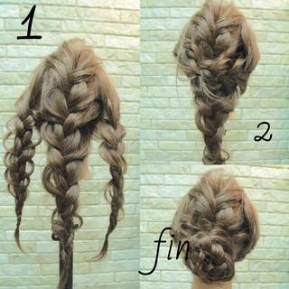 編み込み 簡単ヘアアレンジ ヘアアレンジ ゆるふわ ヘアスタイルや髪型の写真・画像
