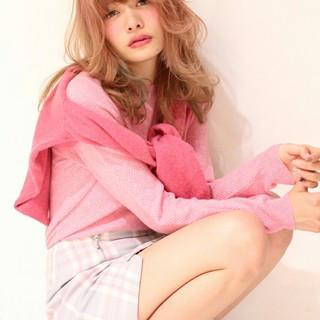 前髪あり ガーリー 夏 セミロング ヘアスタイルや髪型の写真・画像