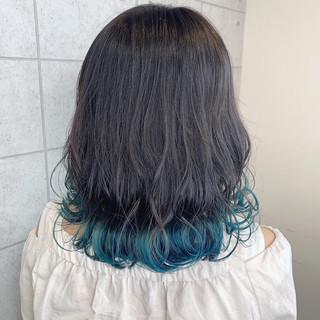 ターコイズブルー ミディアム ブルー モード ヘアスタイルや髪型の写真・画像