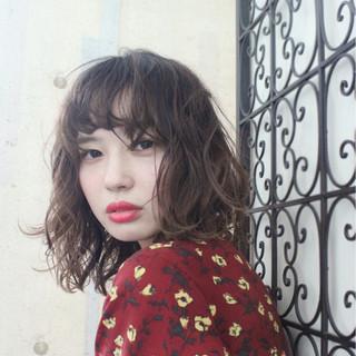 ゆるふわ ミディアム 冬 パーマ ヘアスタイルや髪型の写真・画像