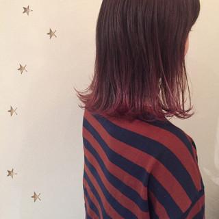 ロブ ピンク ストリート ミディアム ヘアスタイルや髪型の写真・画像