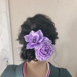 編み込み 成人式 セミロング 結婚式 ヘアスタイルや髪型の写真・画像