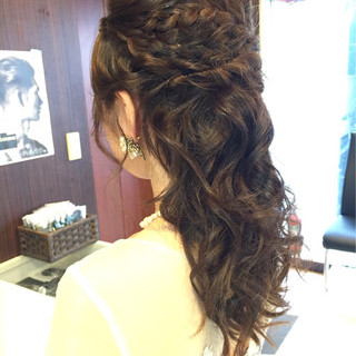結婚式 デート ヘアアレンジ 編み込み ヘアスタイルや髪型の写真・画像