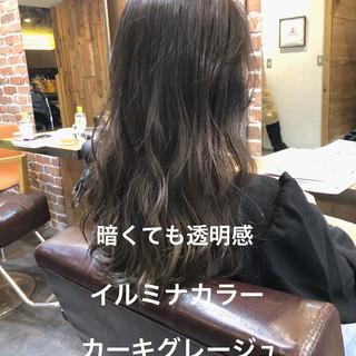 アッシュグレージュ デジタルパーマ パーマ ロング ヘアスタイルや髪型の写真・画像
