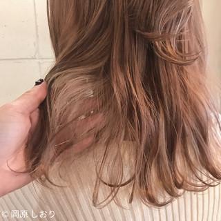 簡単ヘアアレンジ ミディアム ピンク ガーリー ヘアスタイルや髪型の写真・画像