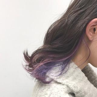 ストリート グラデーションカラー ミディアム インナーカラー ヘアスタイルや髪型の写真・画像
