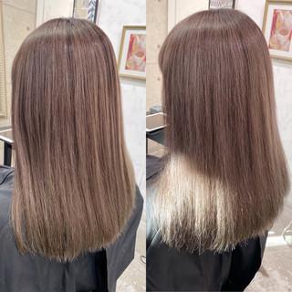 切りっぱなしボブ ロング 暖色系グレージュ ミルクティーベージュ ヘアスタイルや髪型の写真・画像