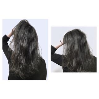 グレージュ ダブルカラー ストリート 暗髪 ヘアスタイルや髪型の写真・画像