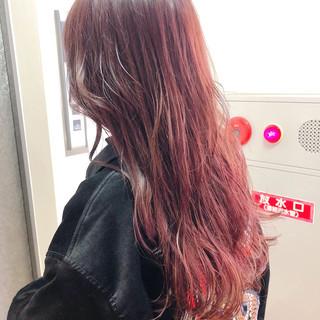 ロング ピンク ガーリー ベリーピンク ヘアスタイルや髪型の写真・画像