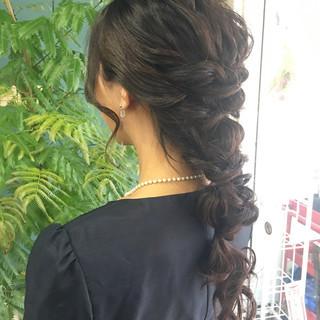 ロング 結婚式 フェミニン エレガント ヘアスタイルや髪型の写真・画像