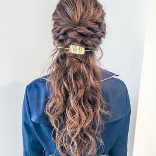 フェミニン ルーズ ハーフアップ ヘアアレンジ ヘアスタイルや髪型の写真・画像