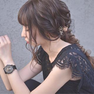 上品 エレガント デート 編み込み ヘアスタイルや髪型の写真・画像