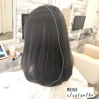 縮毛矯正 前髪 ナチュラル ストレート ヘアスタイルや髪型の写真・画像