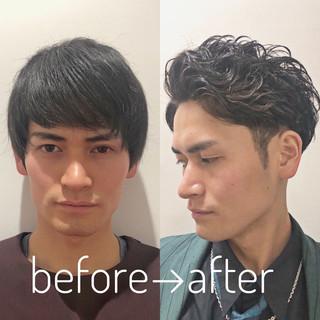 メンズパーマ ショート メンズヘア メンズスタイル ヘアスタイルや髪型の写真・画像
