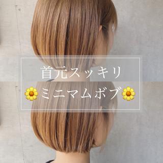 切りっぱなしボブ ミニボブ 透明感カラー ヘアアレンジ ヘアスタイルや髪型の写真・画像