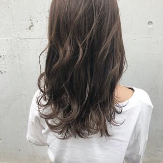 女子力 セミロング ナチュラル グレージュ ヘアスタイルや髪型の写真・画像