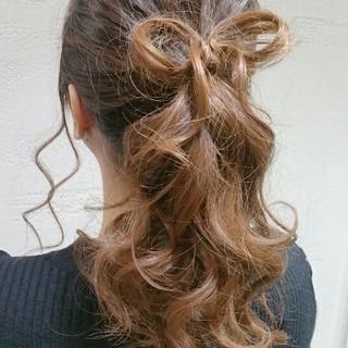 ヘアアレンジ 大人かわいい ガーリー 結婚式 ヘアスタイルや髪型の写真・画像