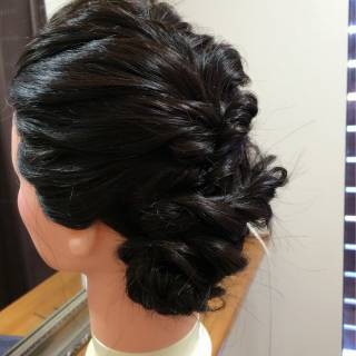 ゆるふわ フェミニン 黒髪 ヘアアレンジ ヘアスタイルや髪型の写真・画像