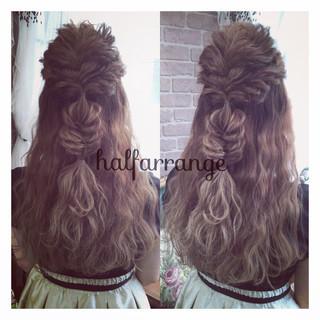 ロング 大人かわいい ハーフアップ ゆるふわ ヘアスタイルや髪型の写真・画像