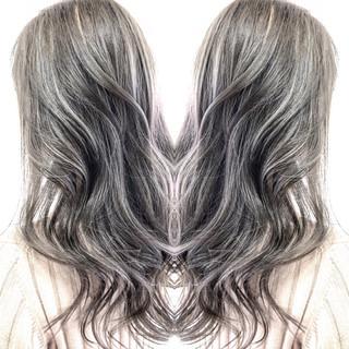 エクステ 前髪エクステ ロング ハイライト ヘアスタイルや髪型の写真・画像