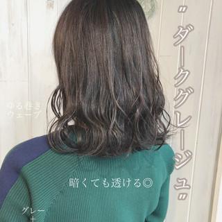 ネイビージュ ネイビーブルー フェミニン グレージュ ヘアスタイルや髪型の写真・画像
