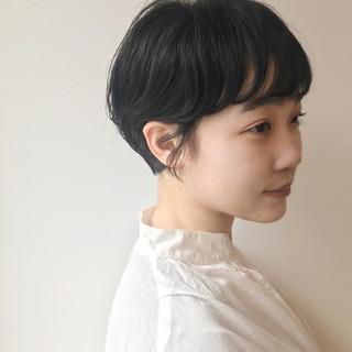 黒髪 パーマ ショート ショートボブ ヘアスタイルや髪型の写真・画像