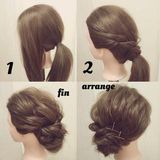 簡単ヘアアレンジ 結婚式 二次会 ゆるふわ ヘアスタイルや髪型の写真・画像