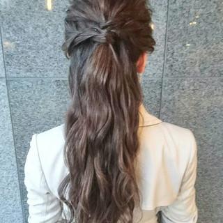 ゆるふわ ハーフアップ ロング ヘアアレンジ ヘアスタイルや髪型の写真・画像