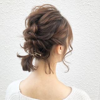 結婚式 簡単ヘアアレンジ ミディアム ヘアアレンジ ヘアスタイルや髪型の写真・画像
