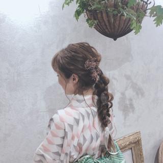 編みおろしヘア ヘアアレンジ ロング 着物 ヘアスタイルや髪型の写真・画像