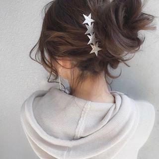 ヘアアレンジ セミロング 結婚式 デート ヘアスタイルや髪型の写真・画像