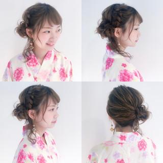 お祭り 夏 ヘアアレンジ セミロング ヘアスタイルや髪型の写真・画像