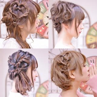 簡単ヘアアレンジ デート ヘアアレンジ ミディアム ヘアスタイルや髪型の写真・画像