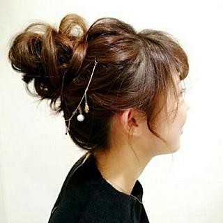 お団子 ショート 簡単ヘアアレンジ ゆるふわ ヘアスタイルや髪型の写真・画像