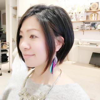 レッド アシメバング 黒髪 モード ヘアスタイルや髪型の写真・画像
