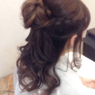 編み込み パーティ モテ髪 コンサバ ヘアスタイルや髪型の写真・画像