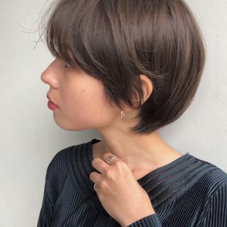 小顔ショート ナチュラル 大人かわいい ショート ヘアスタイルや髪型の写真・画像