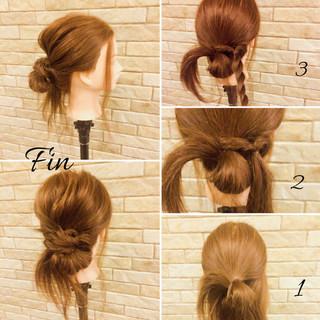 簡単 お団子 簡単ヘアアレンジ ストリート ヘアスタイルや髪型の写真・画像