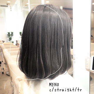 ミディアム ナチュラル 縮毛矯正 ストレート ヘアスタイルや髪型の写真・画像