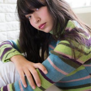 ロング 黒髪 外国人風 ガーリー ヘアスタイルや髪型の写真・画像